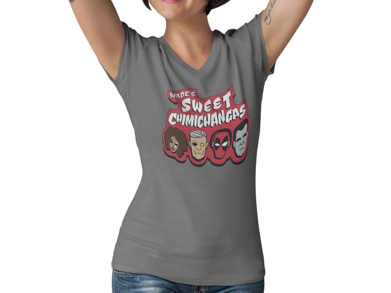 Wade's Sweet Chimichangas Women's Fitted V Neck Shirt | Merc With A Mouth Comic Con Graphic T-Shirt | Taco Tuesday T-Shirt | Gift |Superhero