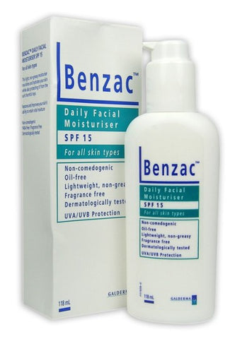 Benzac Daily Face Moisturiser SPF15 118ml  强效痤疮治疗日霜胶 118毫升 SPF15