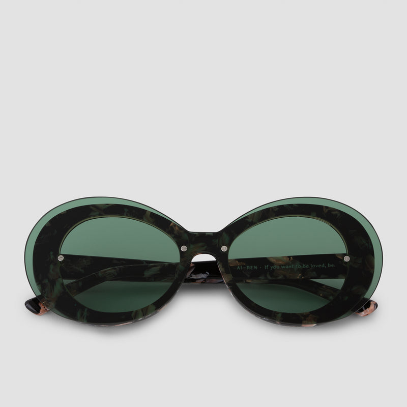 Front View of Ai-Ren Kombu Green Sunglasses