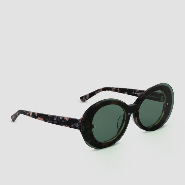 Quarter View of Ai-Ren Kombu Green Sunglasses