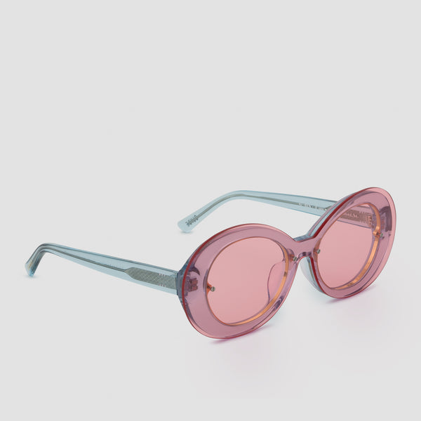 Quarter View of Ai-Ren Strawberry Bubblegum Sunglasses