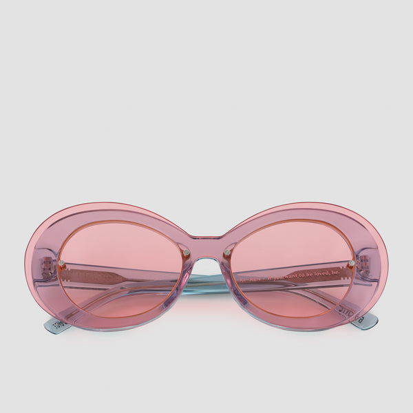 Front View of Ai-Ren Strawberry Bubblegum Sunglasses