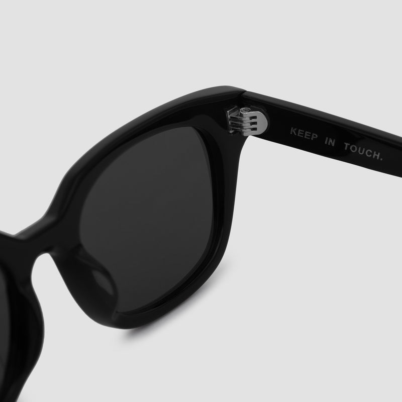 Detail Shot of Chess Club Black-Black Sunglasses