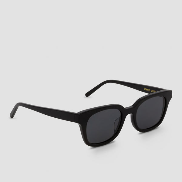 Quarter View of Chess Club Black-Black Sunglasses