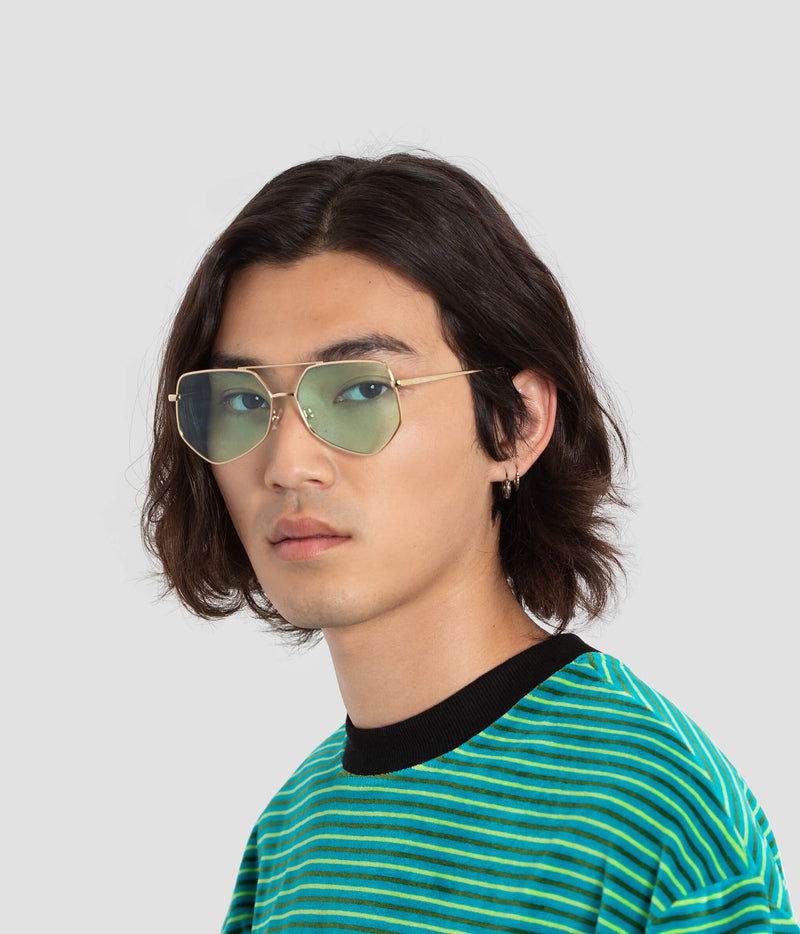 Male Model wearing Figueroa Cold Gold Sunglasses