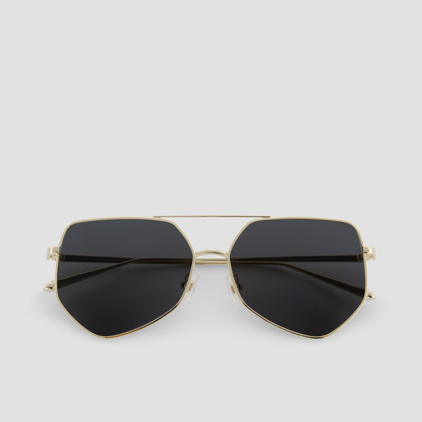 Front View of Figueroa Gold-Black Sunglasses