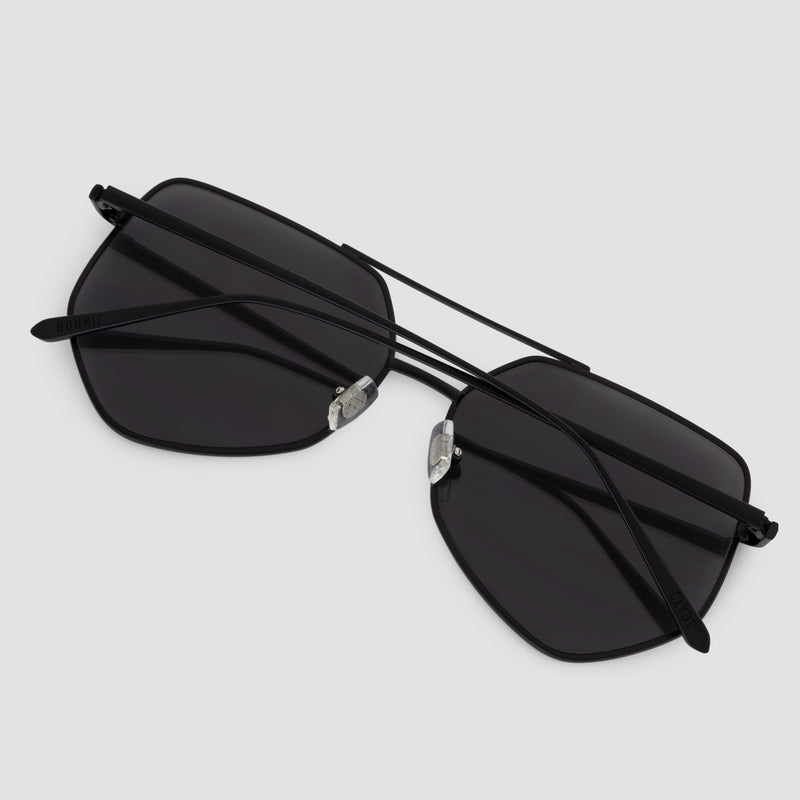 Detail shot of Figueroa Gravity Black Sunglasses