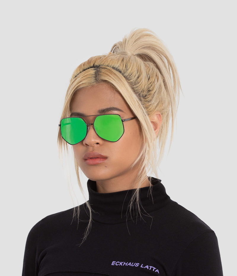 Female Model wearing Figueroa Money Green Sunglasses