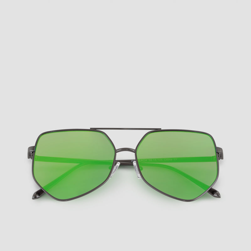 Front View of Figueroa Money Green Sunglasses