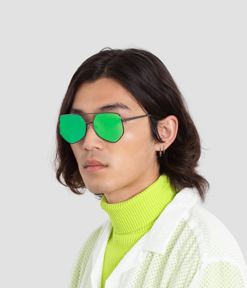 Male Model wearing Figueroa Money Green Sunglasses