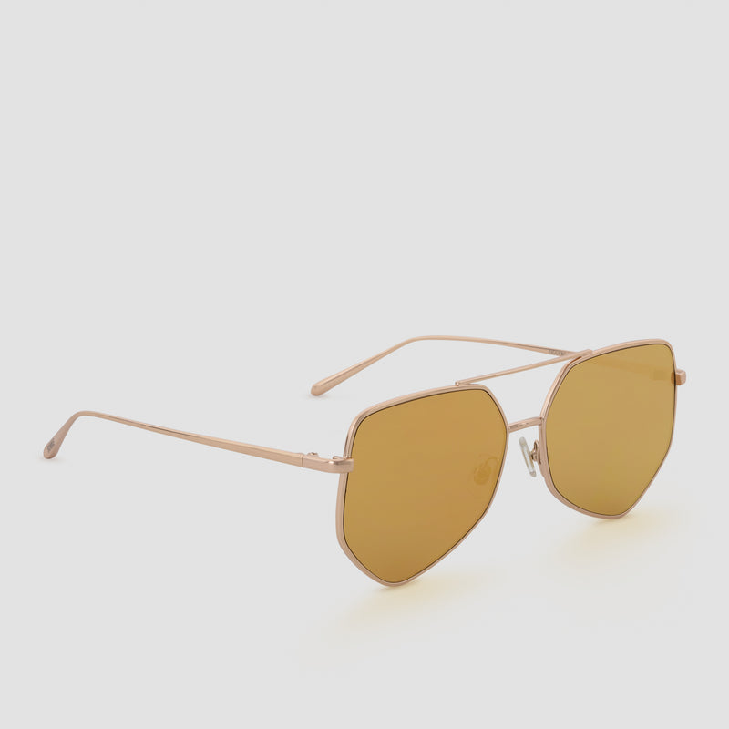 Quarter View of Figueroa Palace Gold Sunglasses