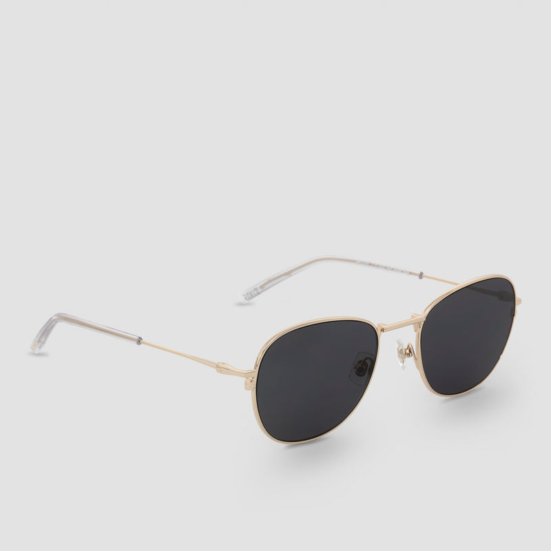 Quarter View of Melody J. Gold-Black Sunglasses