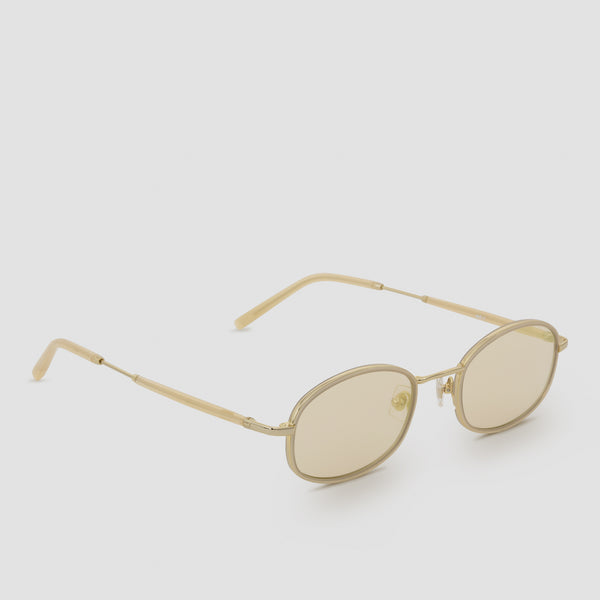 Quarter View of No. 7 J. Gold-Amber (Flash) Sunglasses