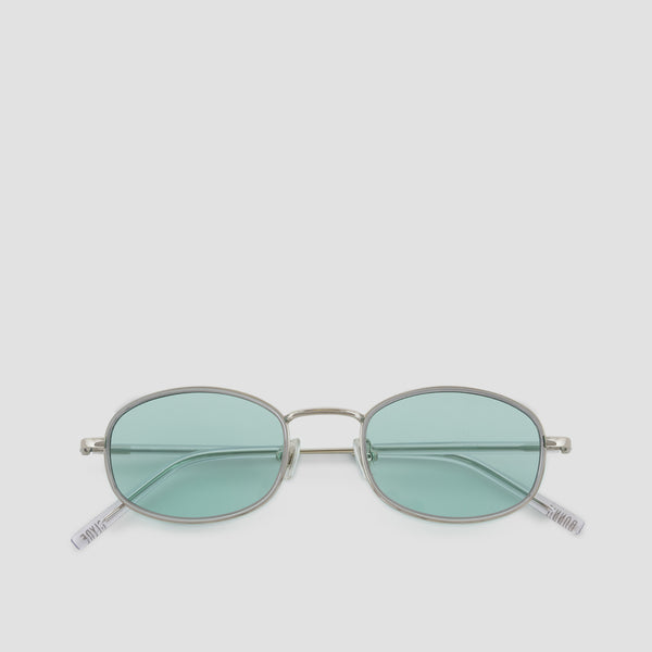 Front View of No. 7 Silver-Cyan Sunglasses