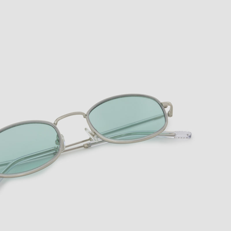 Detail shot of No. 7 Silver-Cyan Sunglasses