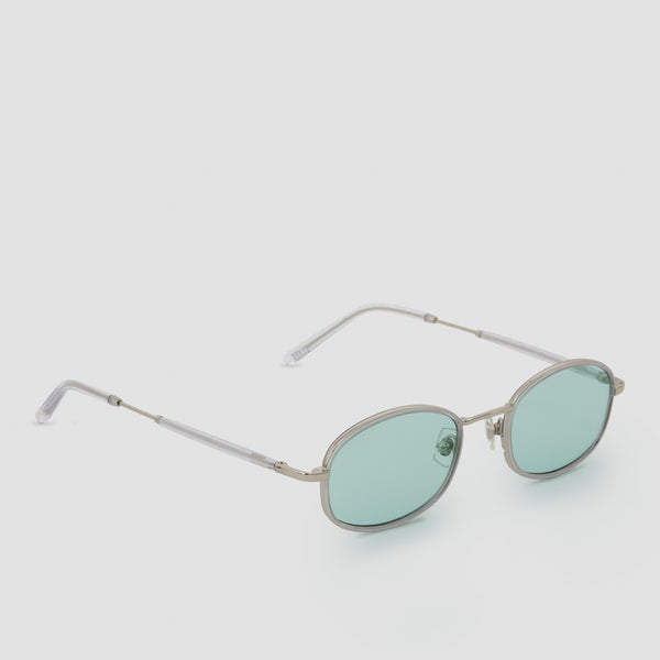 Quarter View of No. 7 Silver-Cyan Sunglasses