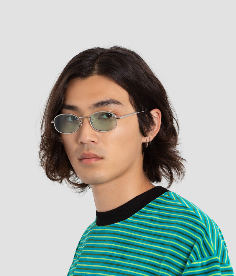 Male Model wearing No. 7 Silver-Cyan Sunglasses