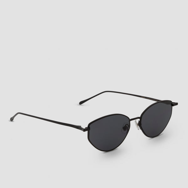 Quarter View of Oddity Black-Black Sunglasses