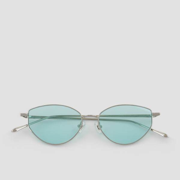 Front View of Oddity Silver-Cyan Sunglasses