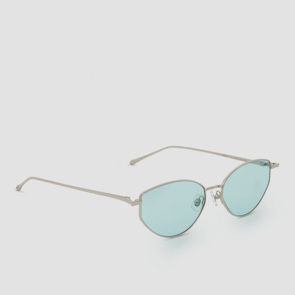 Quarter View of Oddity Silver-Cyan Sunglasses