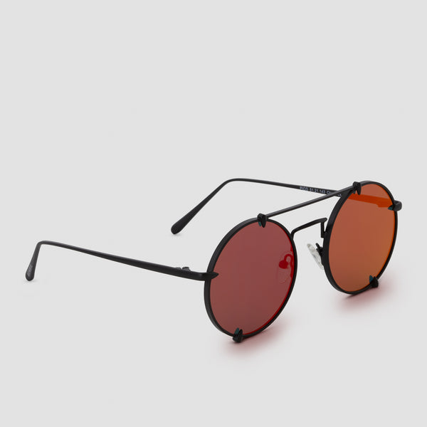 Quarter View of Pico Strange Red (Mirror) Sunglasses