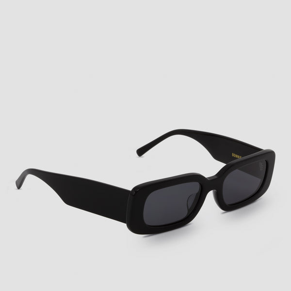 Quarter View of Show and Tell Black-Black Sunglasses