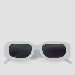 Front View of Show and Tell Rice White-Black Sunglasses