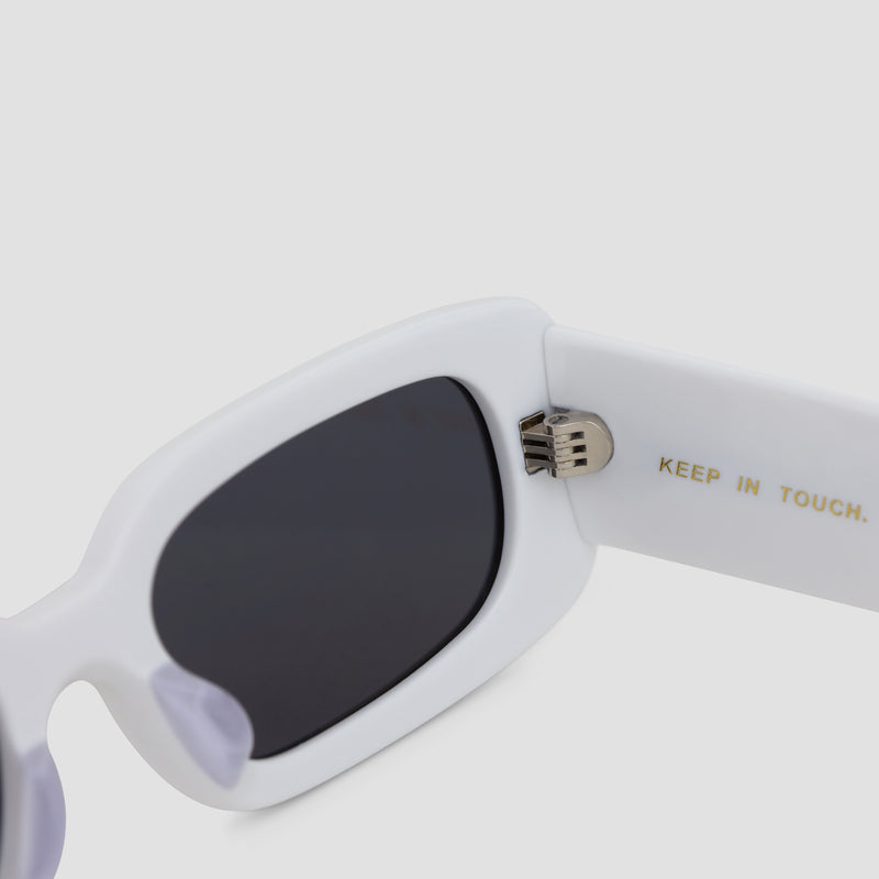 Detail shot of Show and Tell Rice White-Black Sunglasses