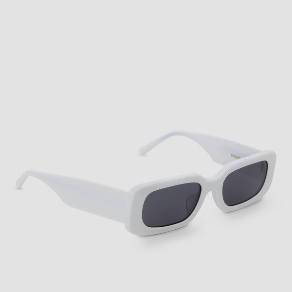 Quarter View of Show and Tell Rice White-Black Sunglasses