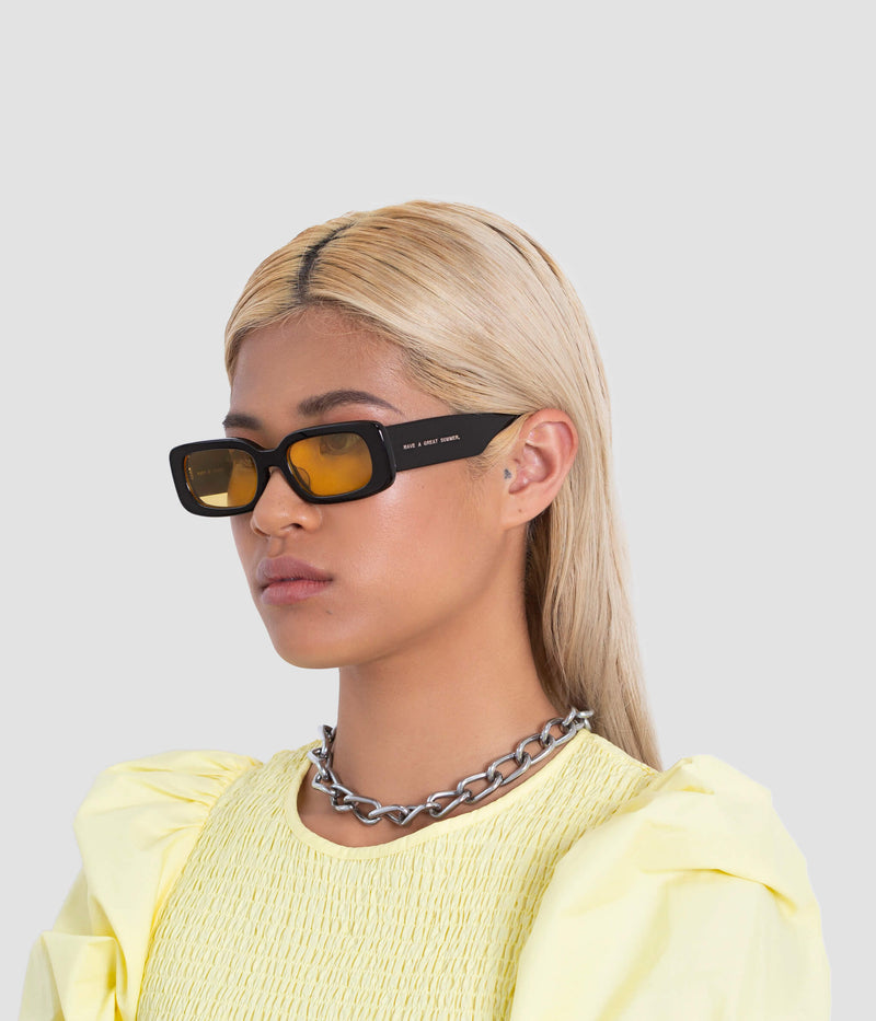 Female Model wearing Show and Tell Black-Sunglow Sunglasses