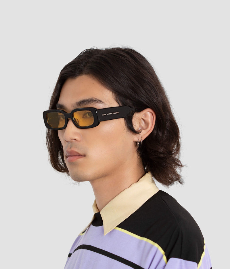 Male Model wearing Show and Tell Black-Sunglow Sunglasses