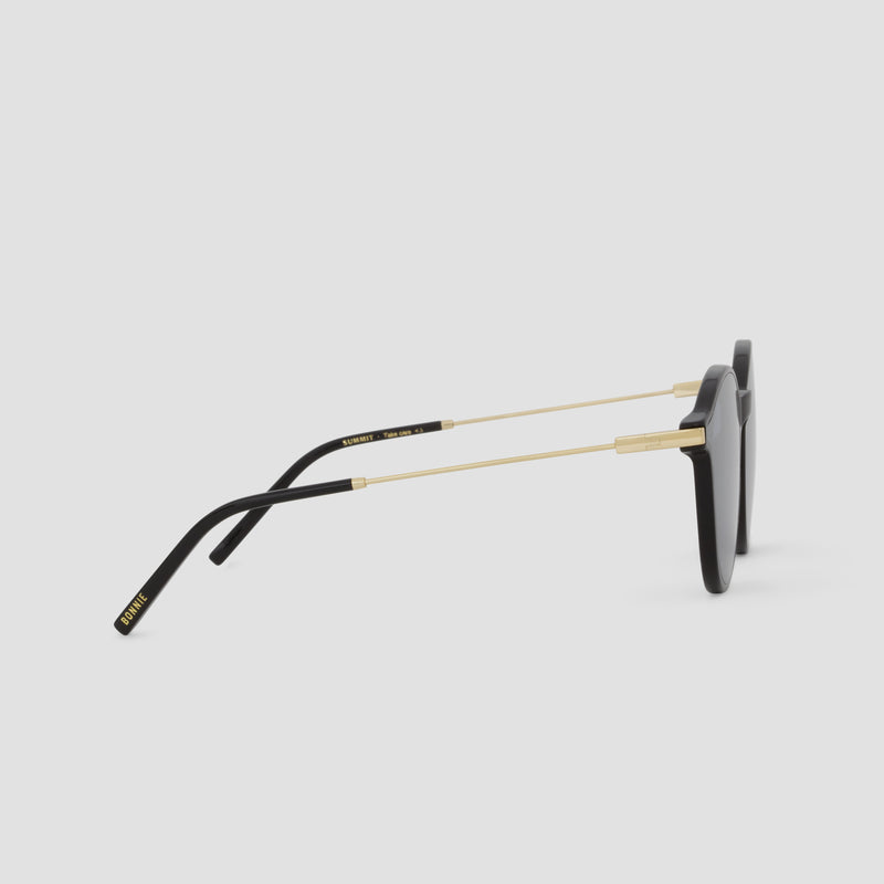 Side View of Summit Black-Black (Mirror) Sunglasses