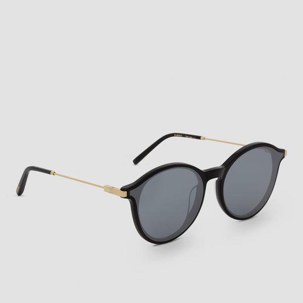 Quarter View of Summit Black-Black (Mirror) Sunglasses