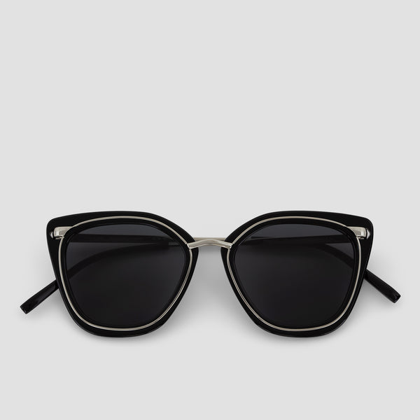 Front View of Temple Silver-Black Sunglasses