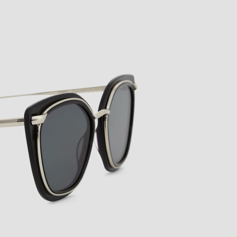 Detail shot of Temple Silver-Black Sunglasses