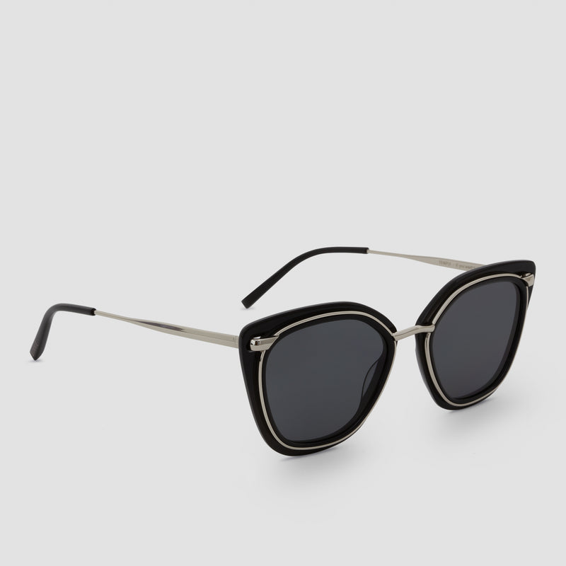 Quarter View of Temple Silver-Black Sunglasses