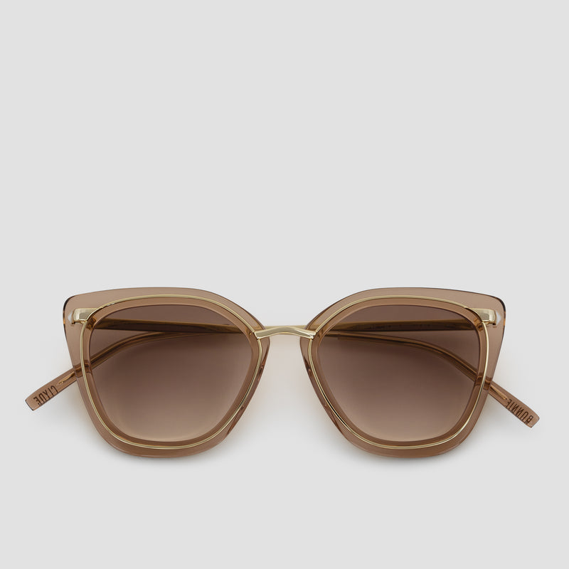 Front View of Temple Japanese Gold-Almond Sunglasses