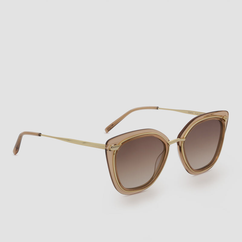 Quarter View of Temple Japanese Gold-Almond Sunglasses