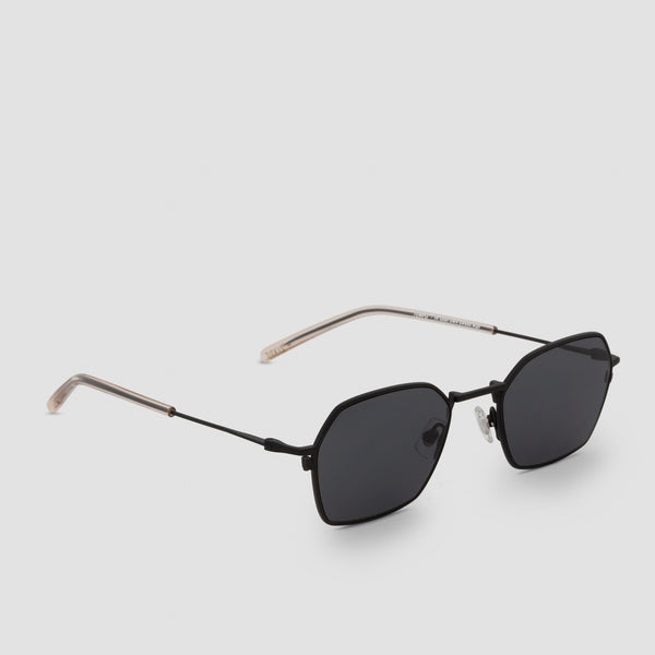 Quarter View of Tempo Black-Black Sunglasses