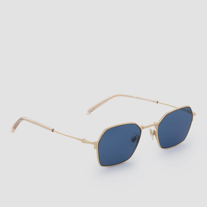 Quarter View of Tempo J. Gold-Real Blue Sunglasses