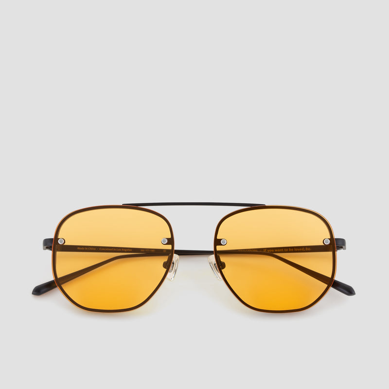 Front View of Traction Black-Orange Sunglasses