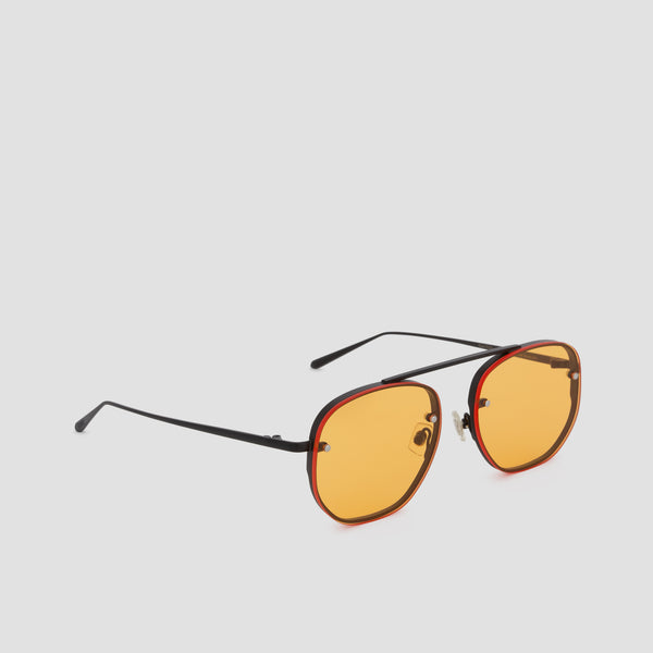 Quarter View of Traction Black-Orange Sunglasses