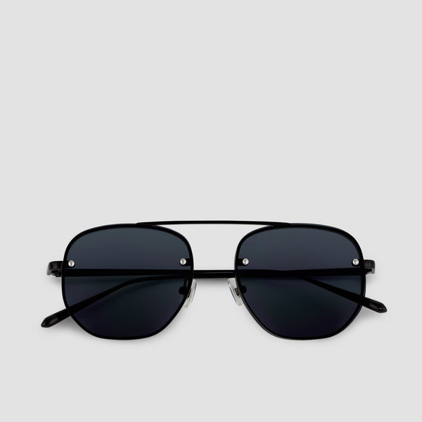 Front View of Traction Bushido Black Sunglasses
