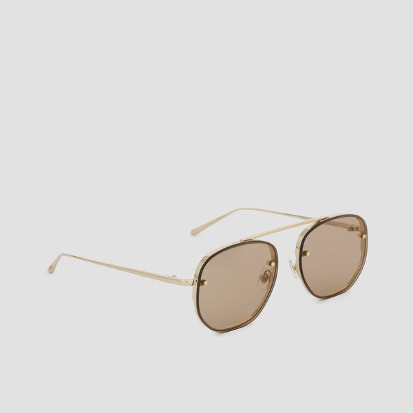 Quarter View of Traction Japanese Gold-Almond Sunglasses