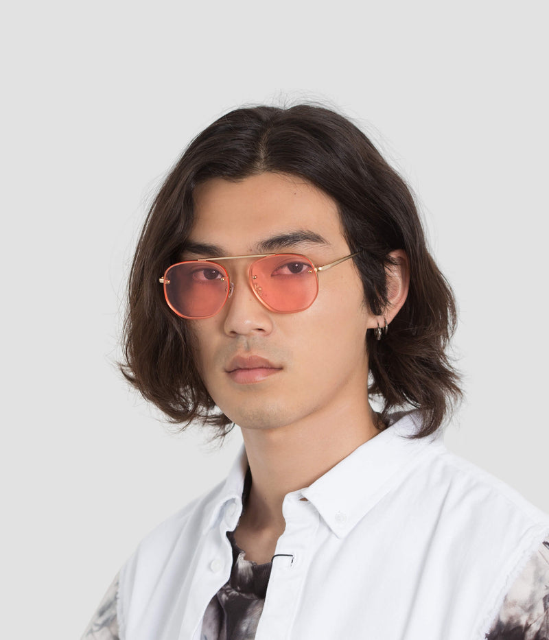 Male Model wearing Traction Red Witness Sunglasses