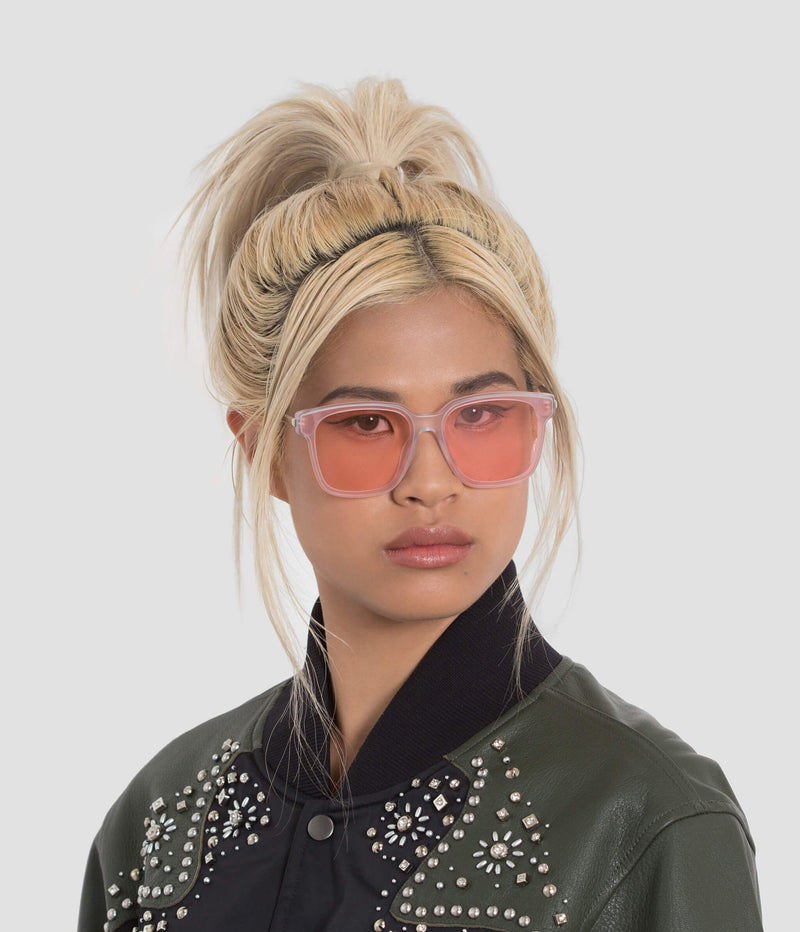 Female Model wearing Wall Pure Matte-Himalayan Sugar Sunglasses