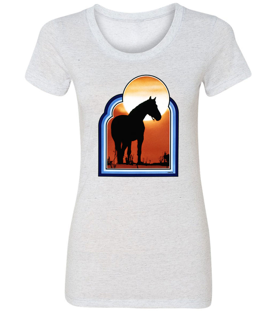 Sunsets in The West With Horse | Women's Fitted Tee