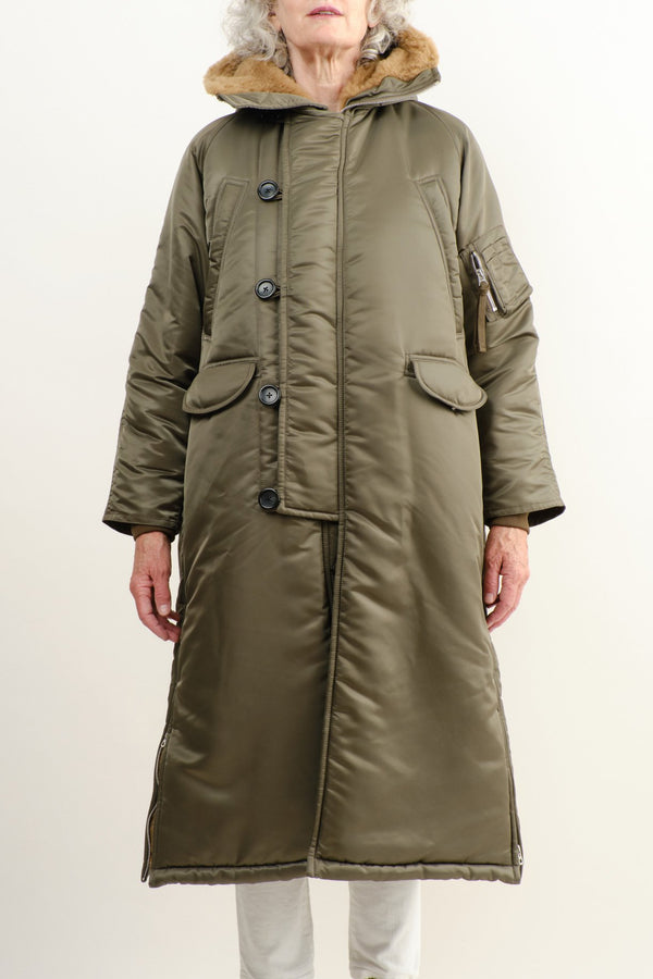 Vis a Vis Faux Fur Lined Long Parka Olive Drab