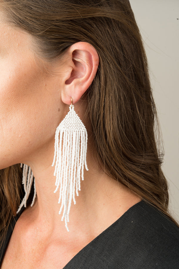 Salihah Moore White Hand Beaded Earring