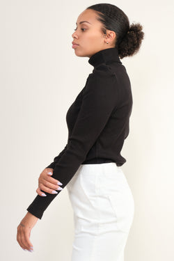 Amo Denim Puff Sleeve Turtle Neck in Black